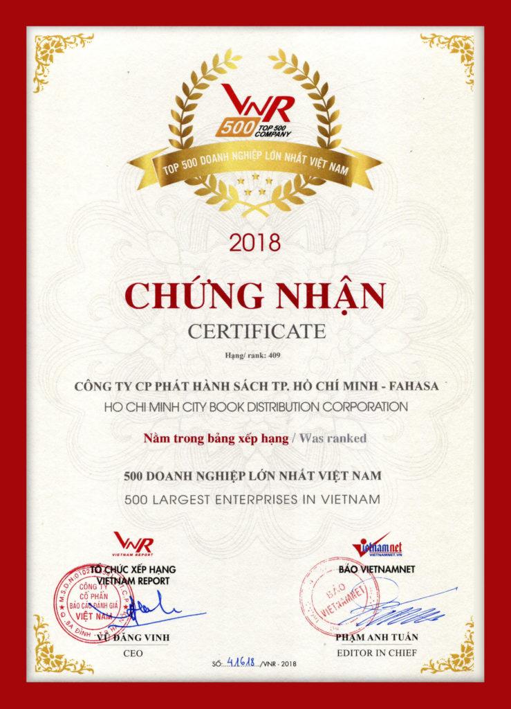 chung nhan top 500 doanh nghiep lon nhat viet nam 2018