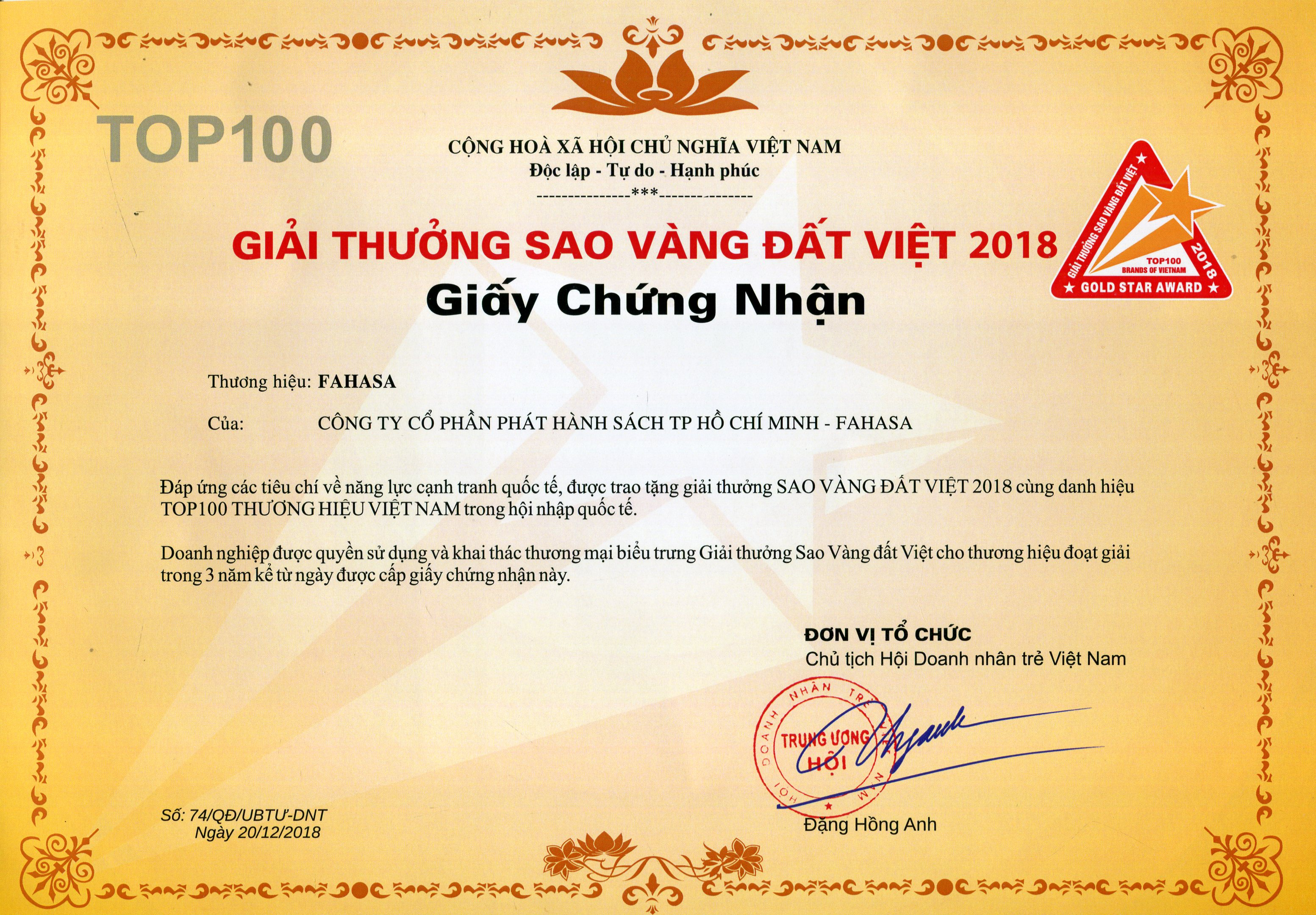 SAO VÀNG ĐẤT VIỆT 2018